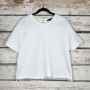 XL White Windowpane Print Ponte Knit Pom Pom Top